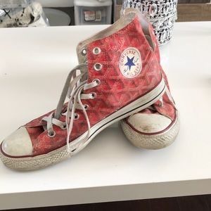 Converse Shoes - Converse custom made red high tops sz 9 goyard